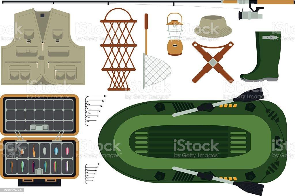 Beautiful, easy editable fishing equipment set, vector illustration. vector art illustration