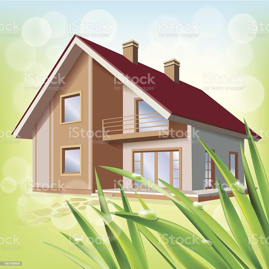 Beautiful eco house royalty-free stock vector art