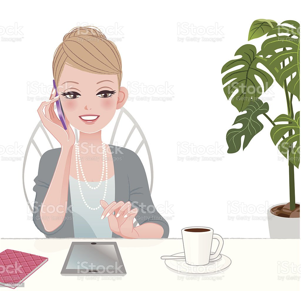 Beautiful executive woman talking on the phone with touch pad royalty-free stock vector art