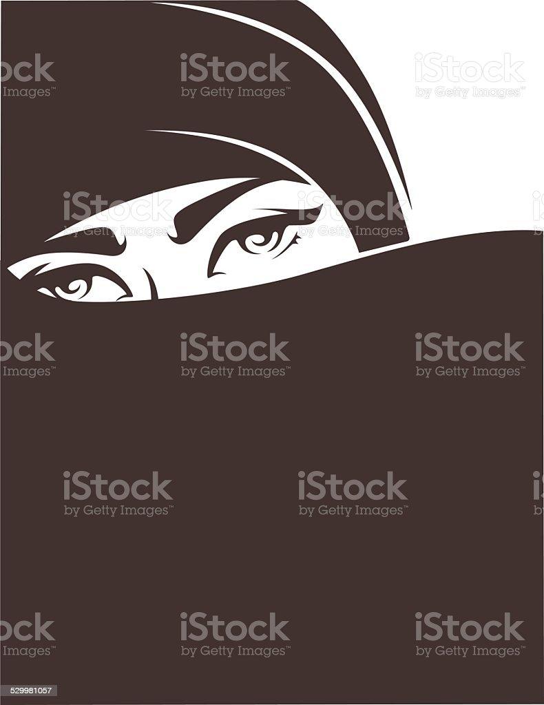 beautiful face of arabic muslim woman vector art illustration
