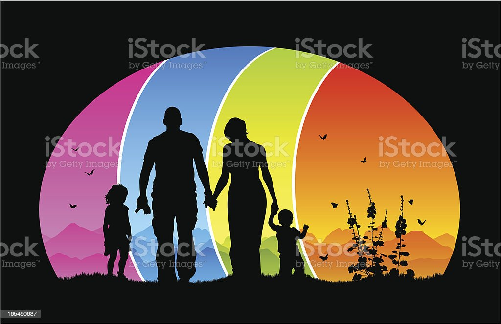 Beautiful family silhouette in colorful mountain landscape royalty-free stock vector art