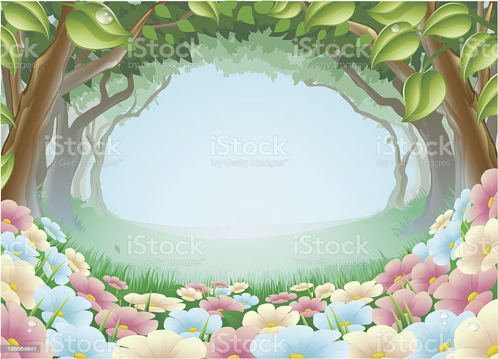 Beautiful fantasy forest scene illustration vector art illustration