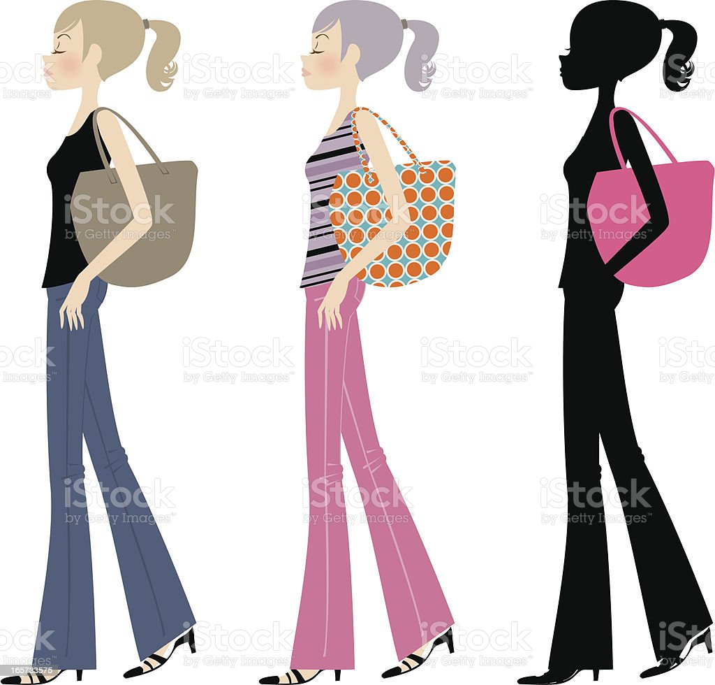 Beautiful fashion ponytail girl walking with bag vector art illustration