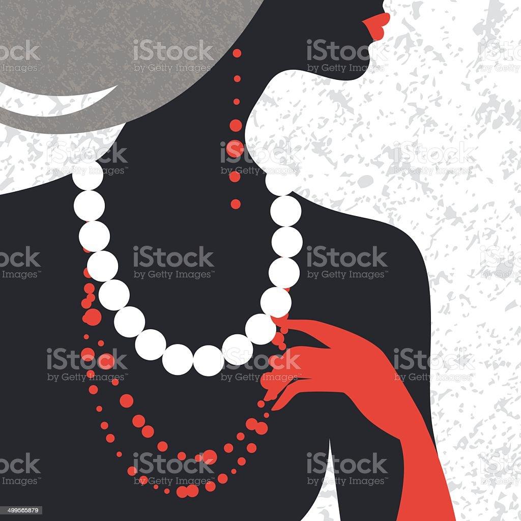 Beautiful fashion woman silhouette vector art illustration
