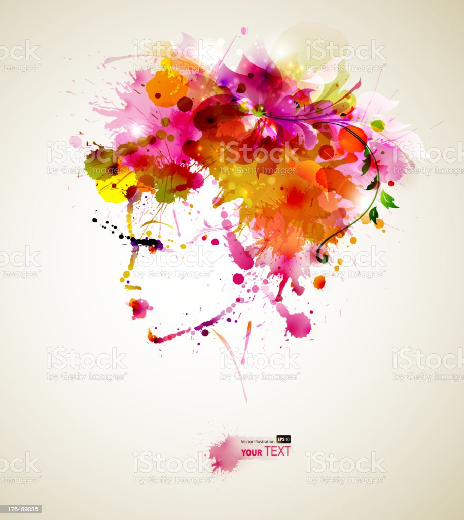 Beautiful fashion women with abstract hair and design elements royalty-free stock vector art
