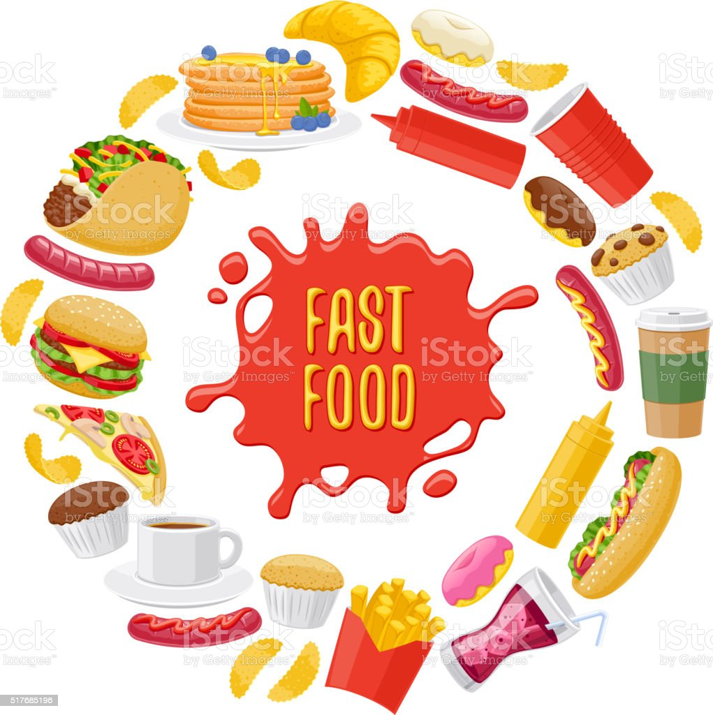 Beautiful fast food icons round background vector art illustration