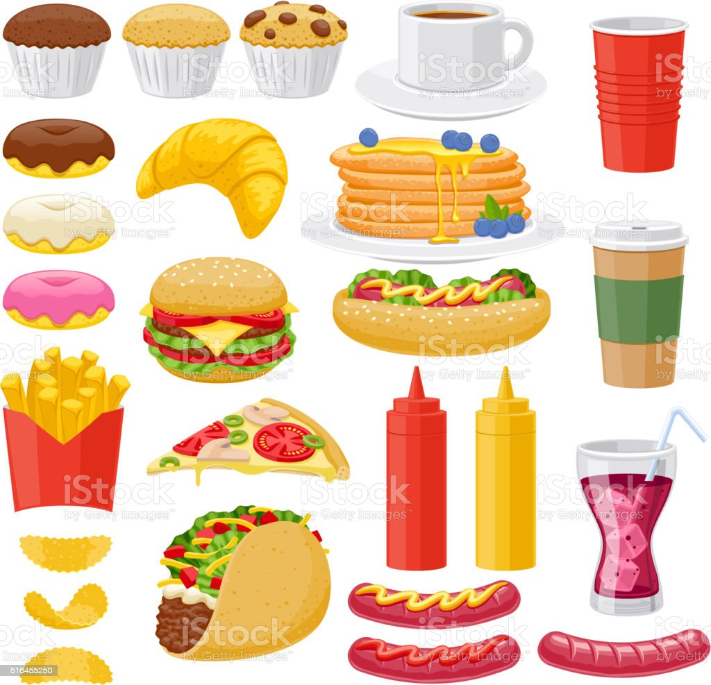 Beautiful fast food icons set vector art illustration
