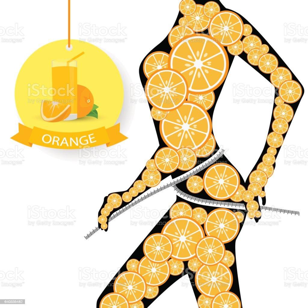 beautiful female figure with orange, on black background vector art illustration