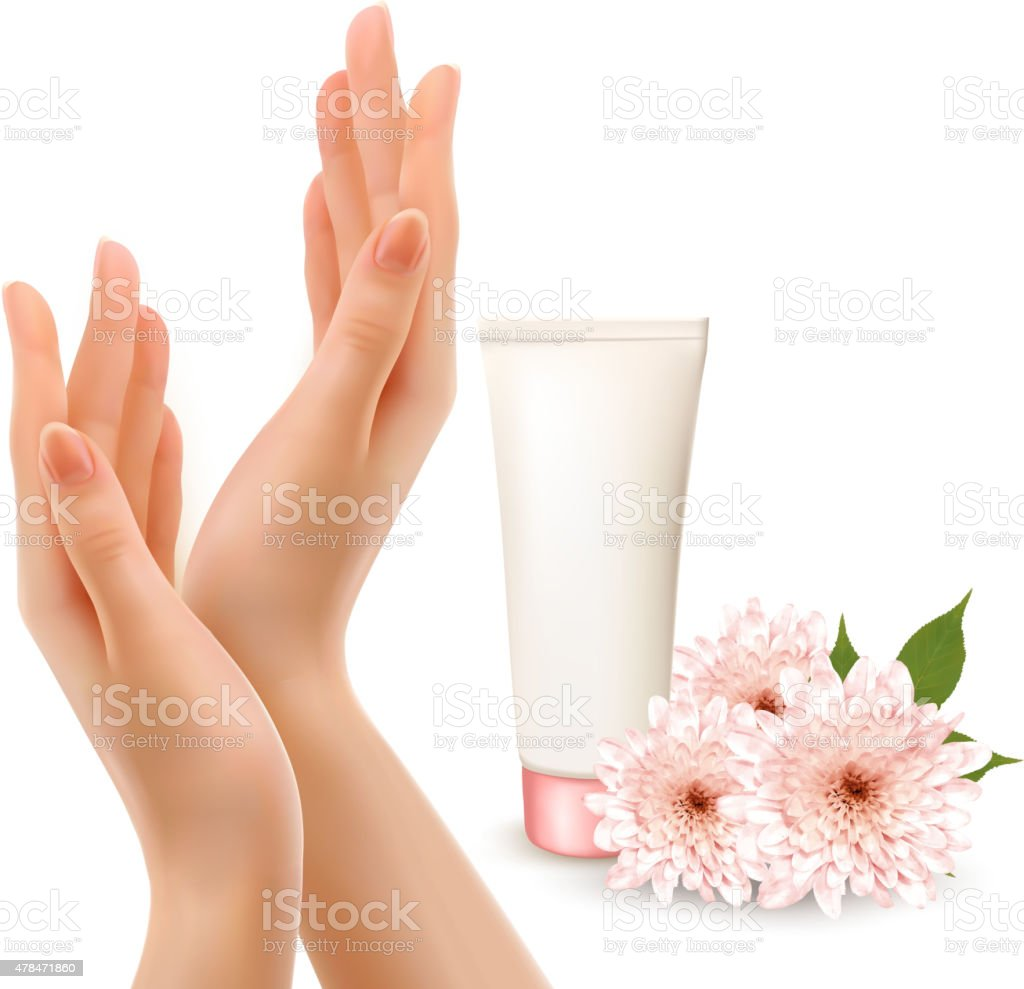 Beautiful female hands with a cream and flowers. Vector. vector art illustration