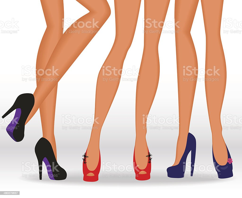 Beautiful female legs in fashionable high-heeled shoes royalty-free stock vector art