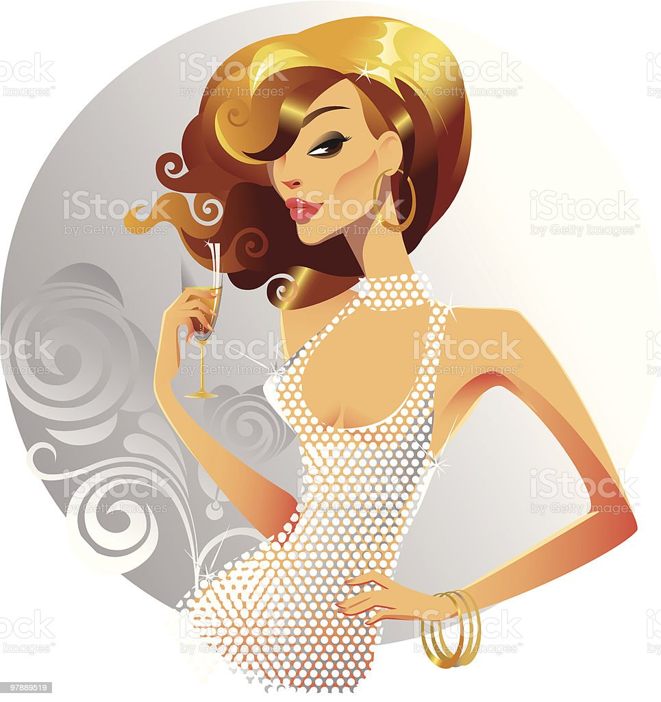 beautiful female vector art illustration