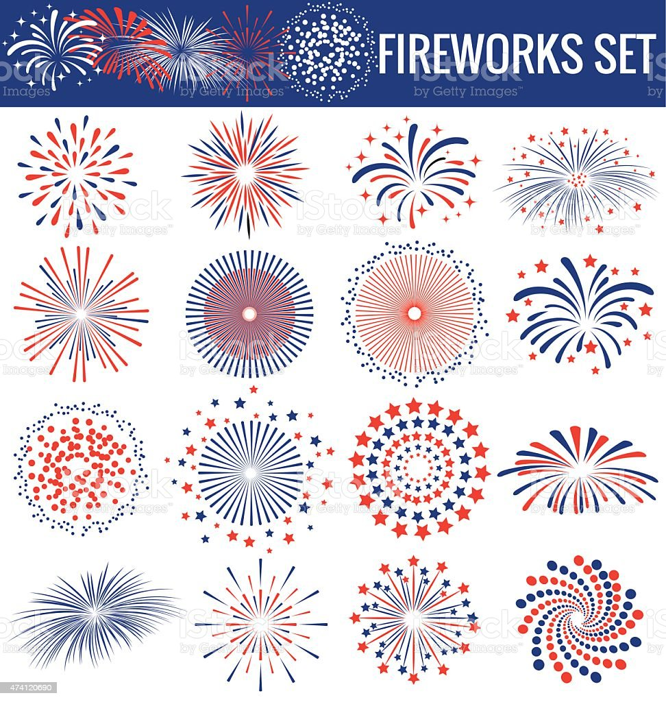 Beautiful Fireworks for Independence Day USA vector art illustration