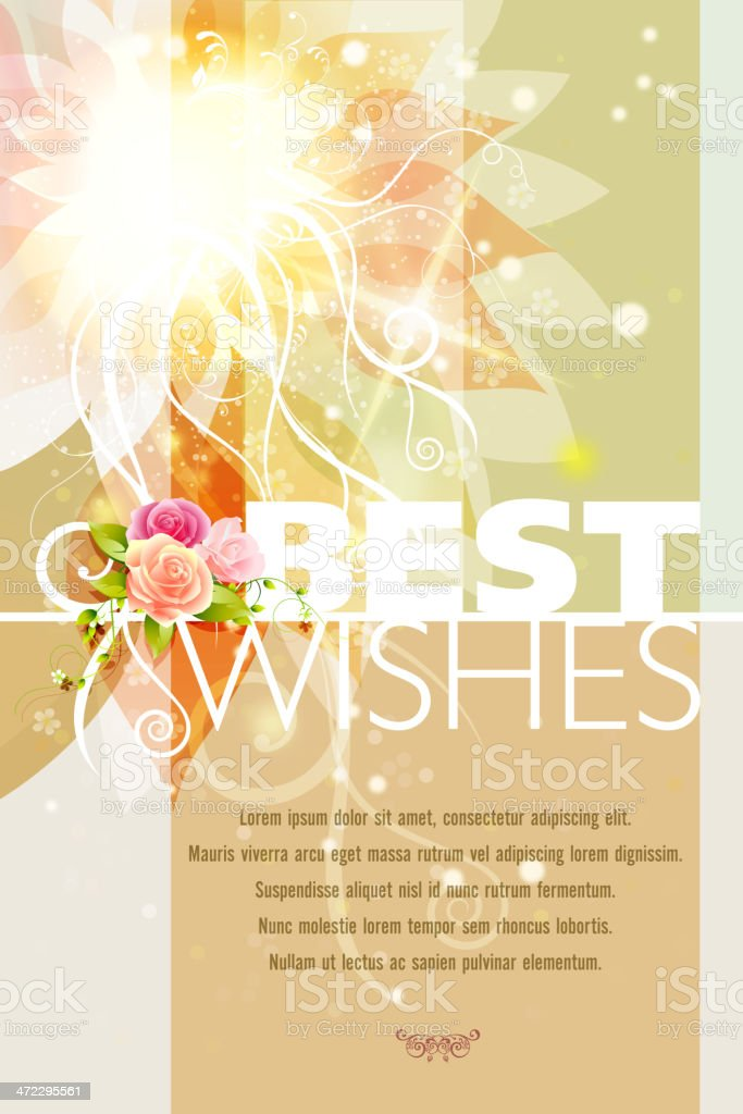 Beautiful Floral Best Wishes Card royalty-free stock vector art