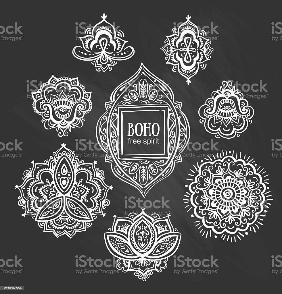 Beautiful floral ornaments. Set of Ornamental Boho flowers and elements. vector art illustration