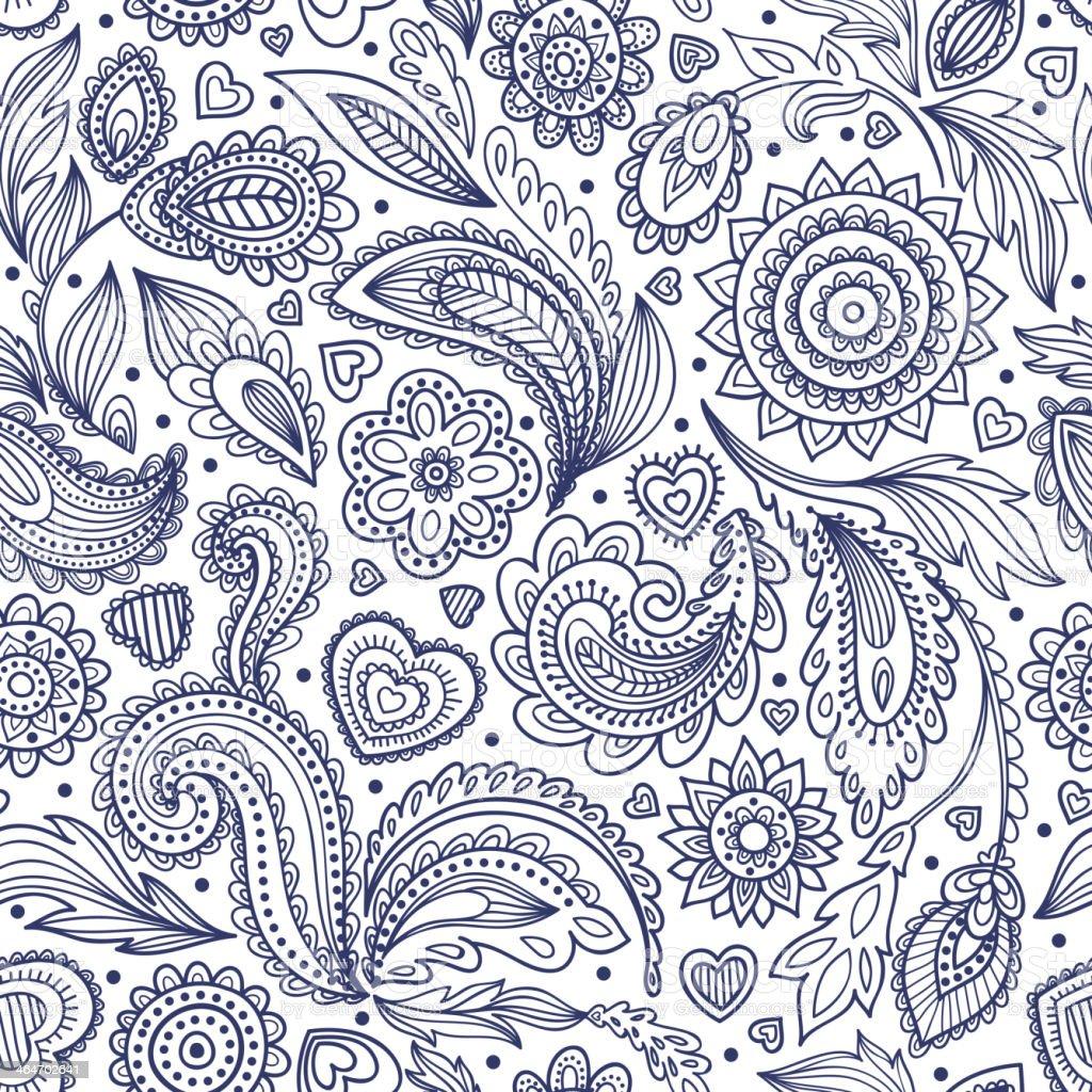 Beautiful floral paisley seamless vector art illustration