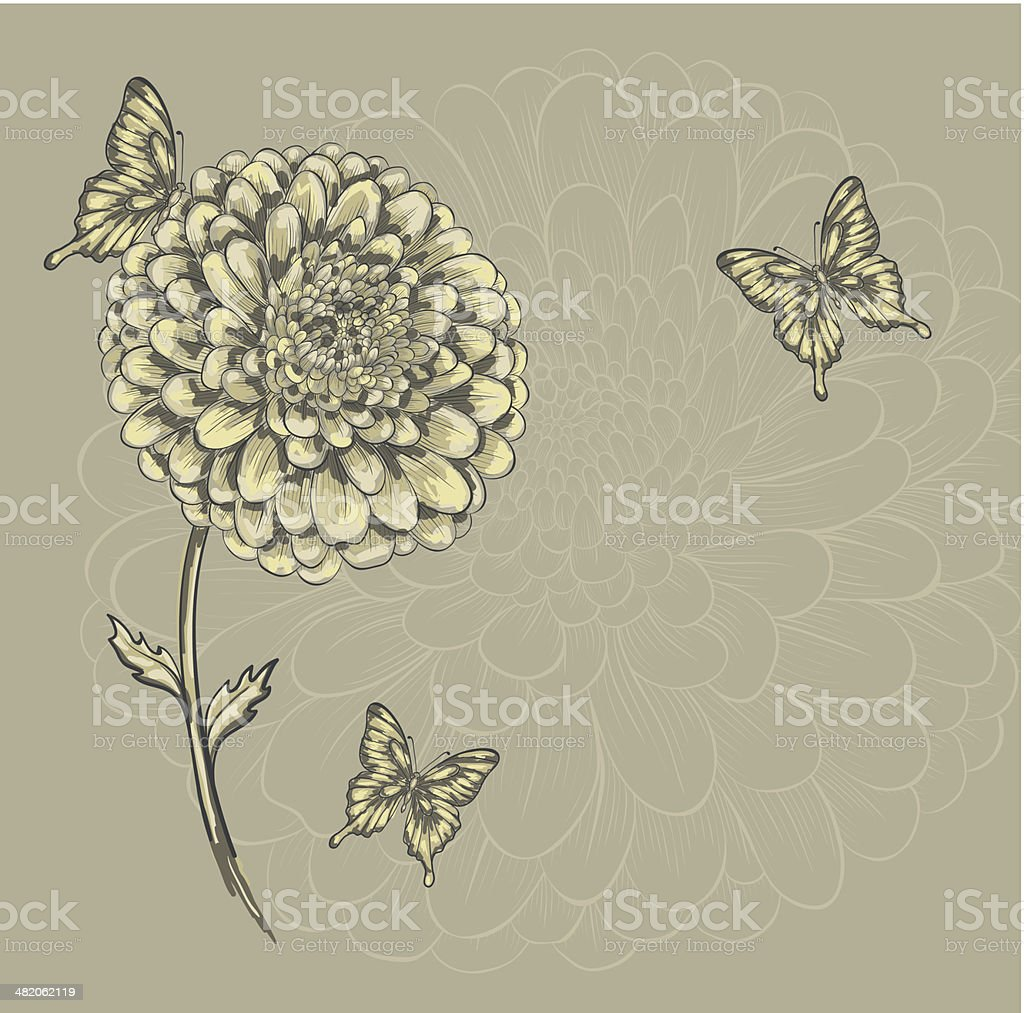 beautiful flower with butterflies. Hand-drawn contour lines and watercolor effect . royalty-free stock vector art
