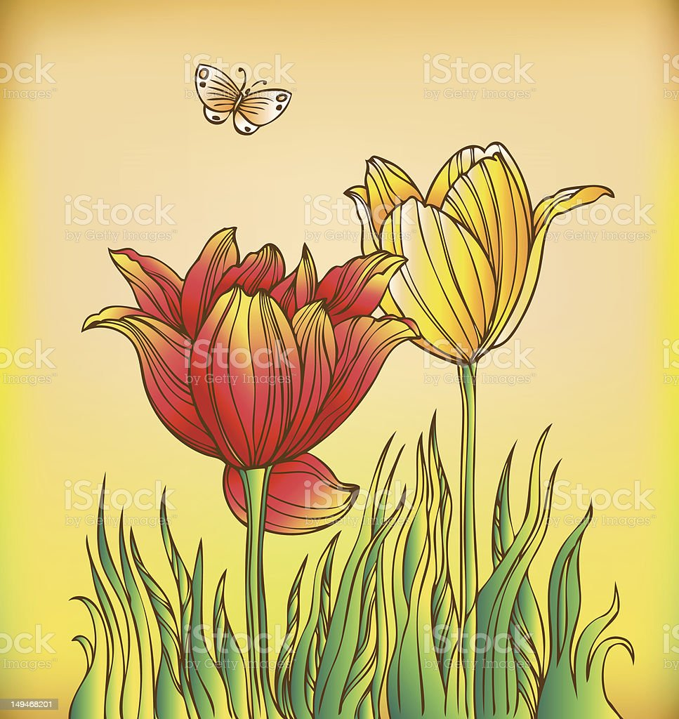 Beautiful flowers and butterfly - hand drawn royalty-free stock vector art