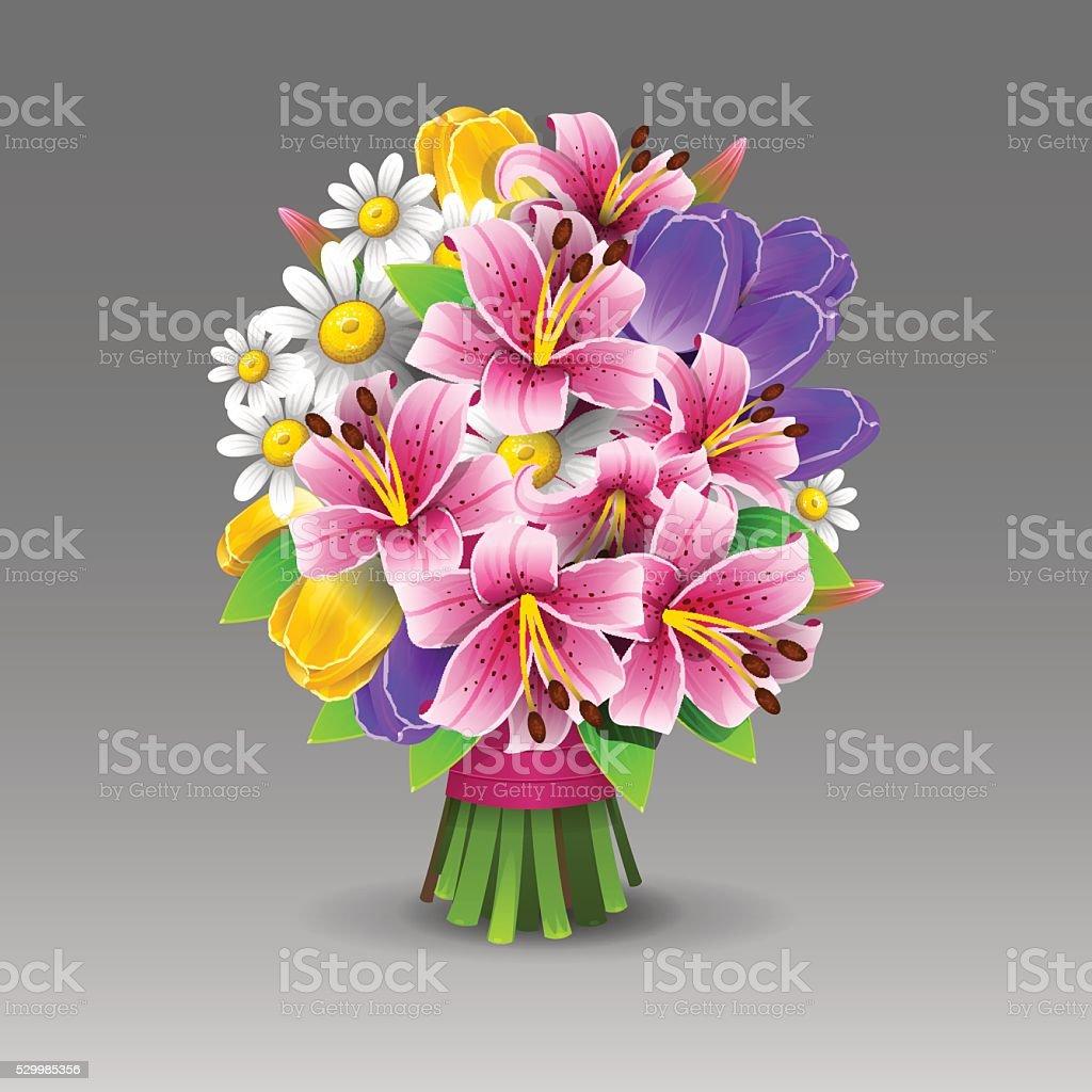 Beautiful flowers bouquet vector art illustration