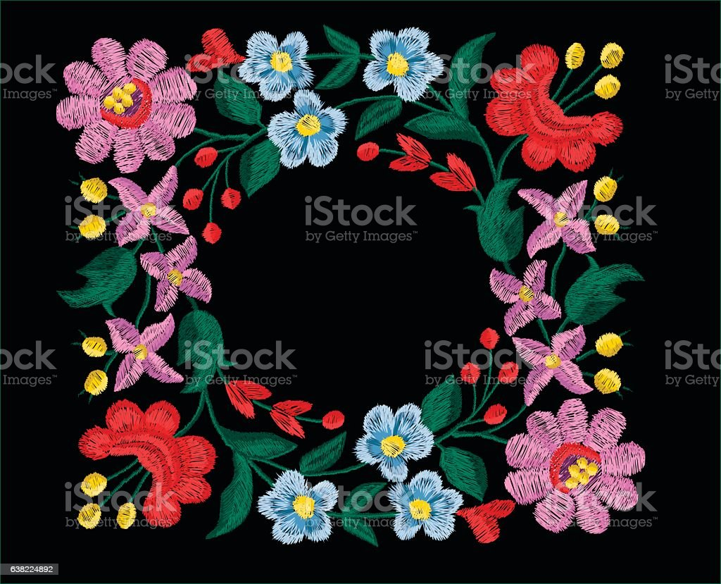 beautiful flowers embroidery vector for textile design vector art illustration