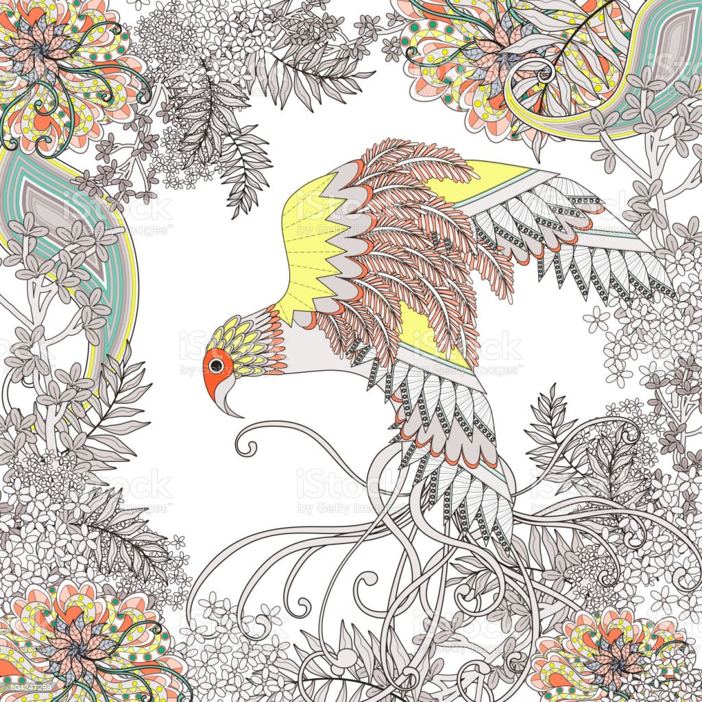 beautiful flying bird coloring page vector art illustration
