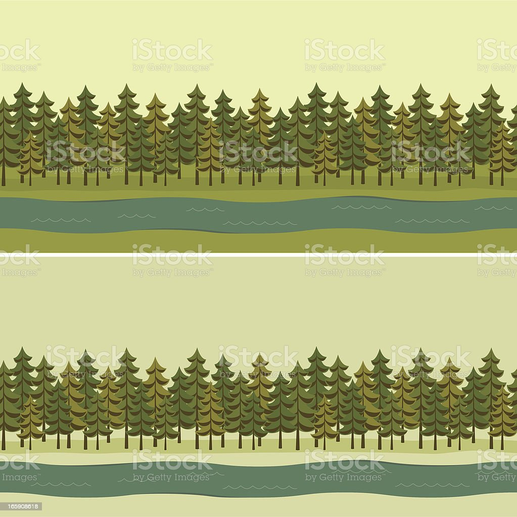 Beautiful forest border in shades of green royalty-free stock vector art