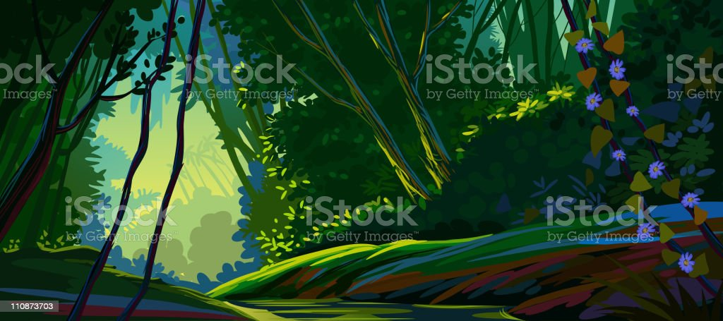 Beautiful forest royalty-free stock vector art