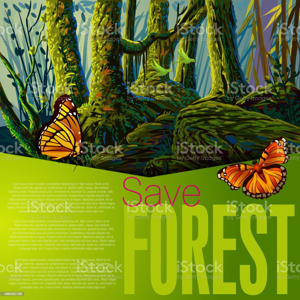 Beautiful Forest vector art illustration