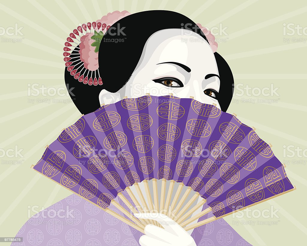 Beautiful Geisha Hiding Behind Elaborate Fan vector art illustration