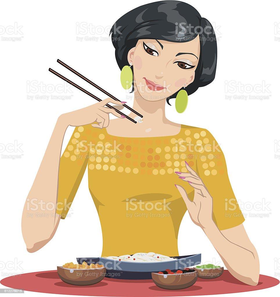 beautiful girl eats with chopsticks royalty-free stock vector art