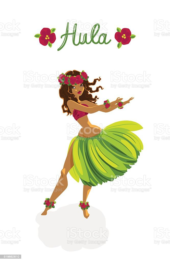 Beautiful girl - hula dancer vector art illustration