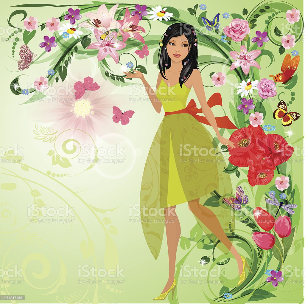 Beautiful girl in a magic forest vector art illustration