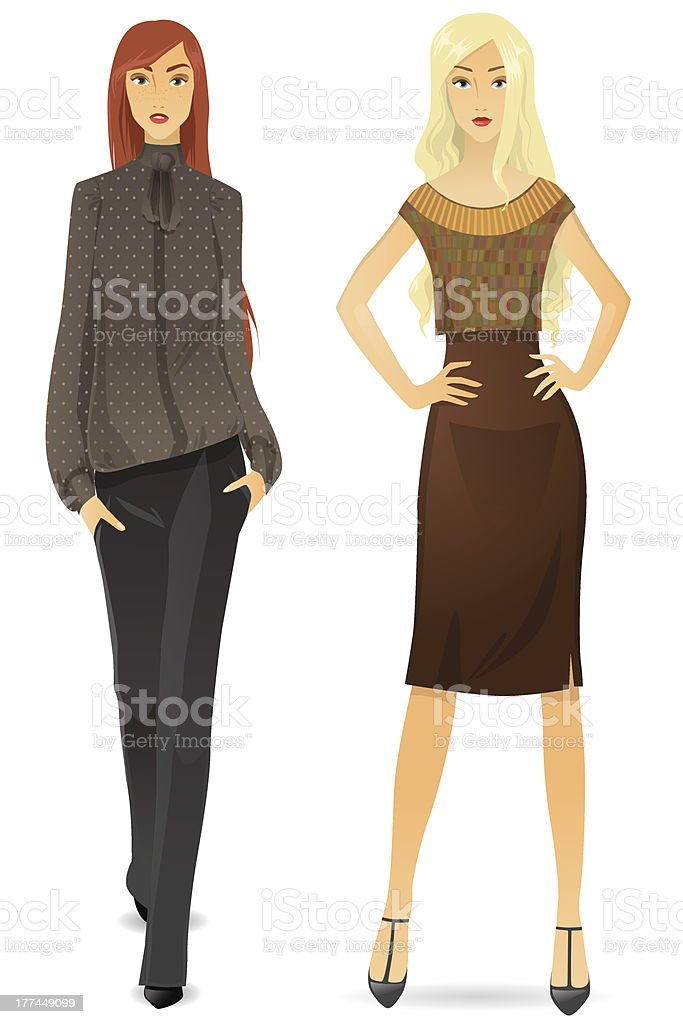 Beautiful girl in a strict office clothes royalty-free stock vector art