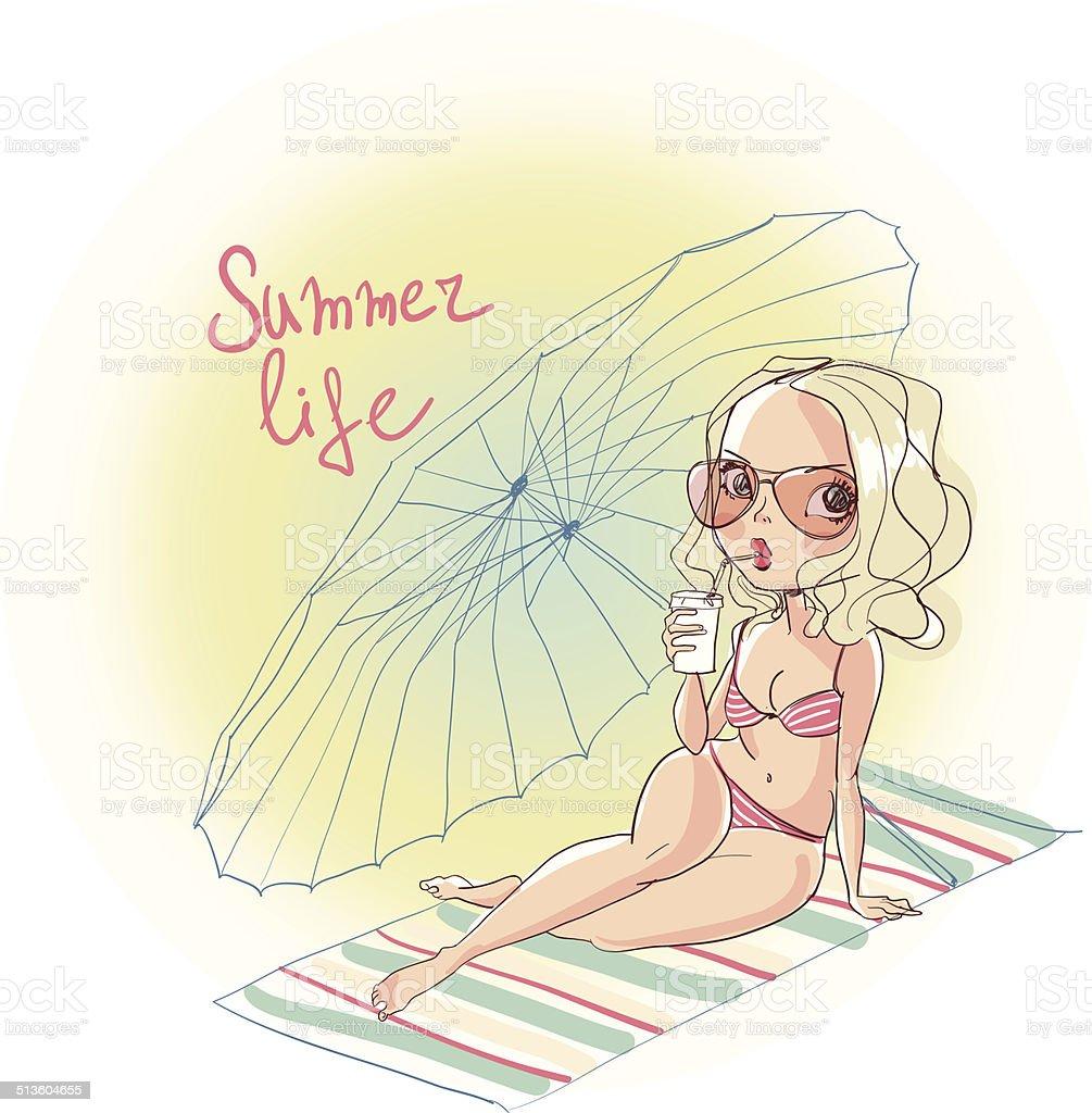 Beautiful girl in bikini on the beach royalty-free stock vector art