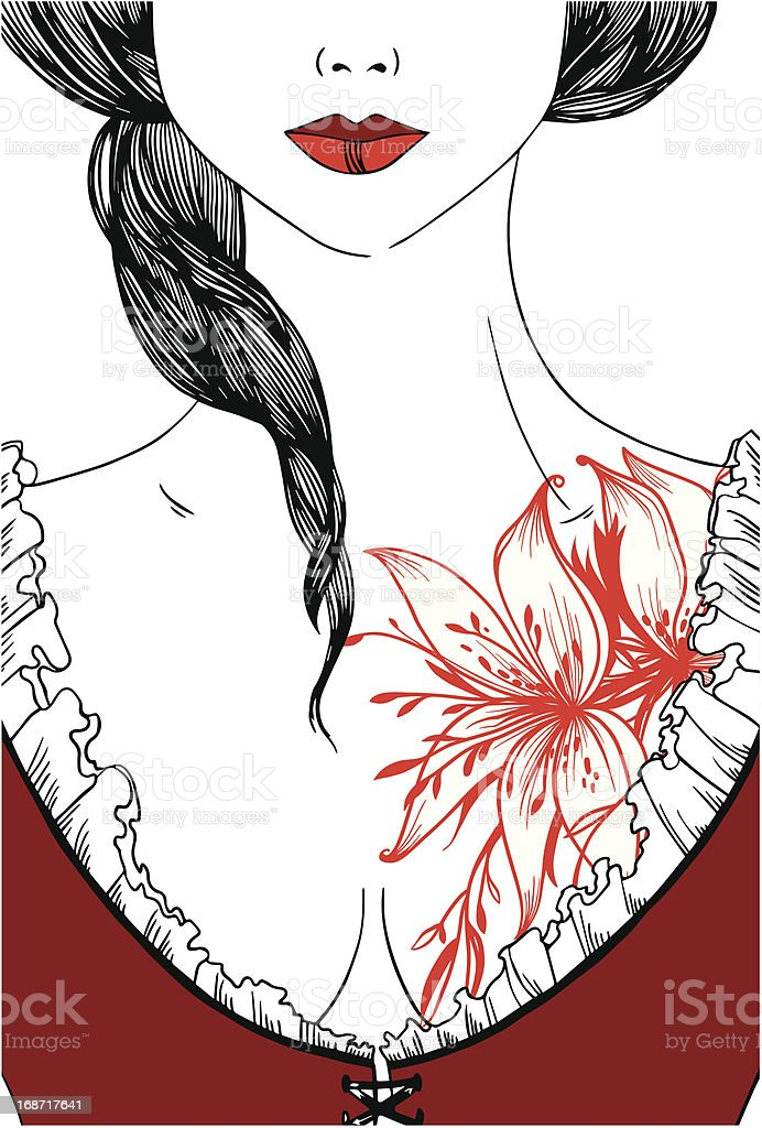 beautiful girl in corset and tattoo royalty-free stock vector art
