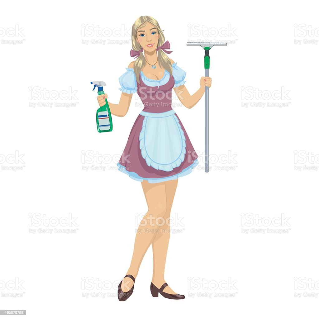 beautiful girl maid cleaner royalty-free stock vector art