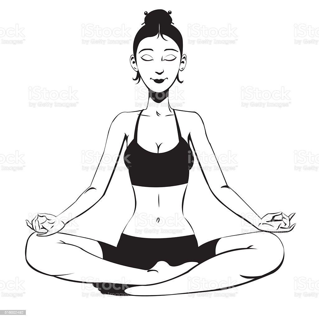 beautiful girl meditating royalty-free stock vector art