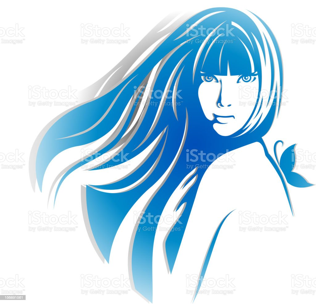 Beautiful girl silhouette with a butterfly vector art illustration