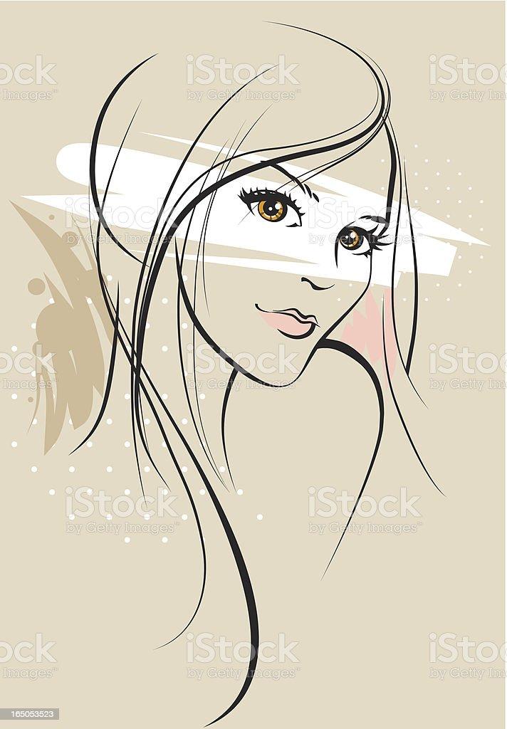 Beautiful girl sketch royalty-free stock vector art