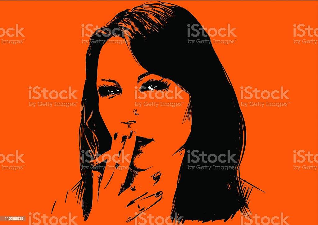 Beautiful girl smoking cigarette royalty-free stock vector art
