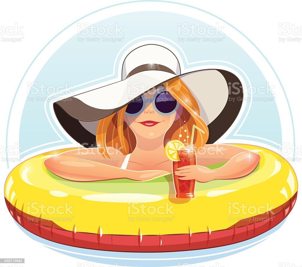 Beautiful girl swim with rubber circle vector art illustration
