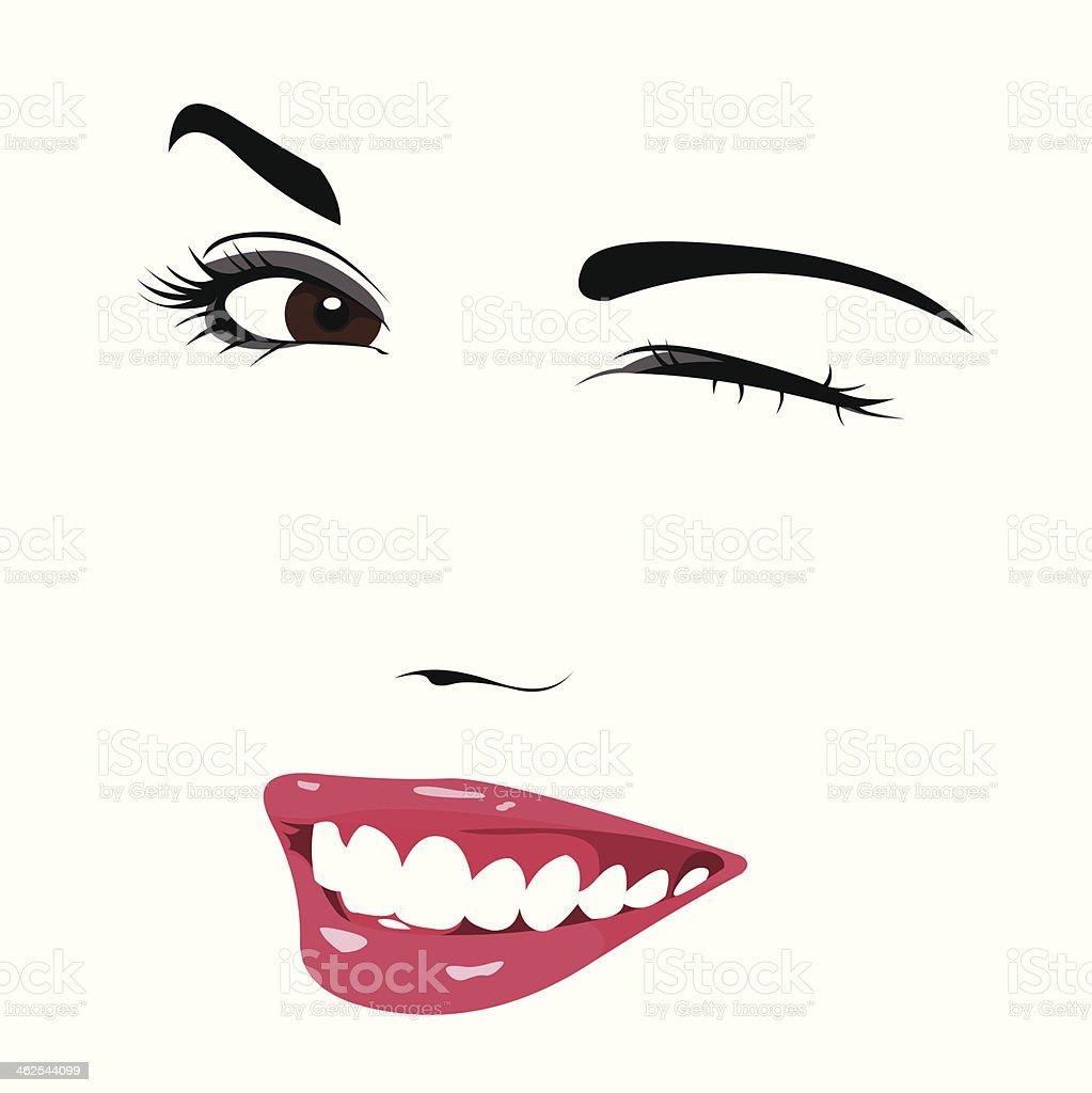 Beautiful girl wink vector art illustration