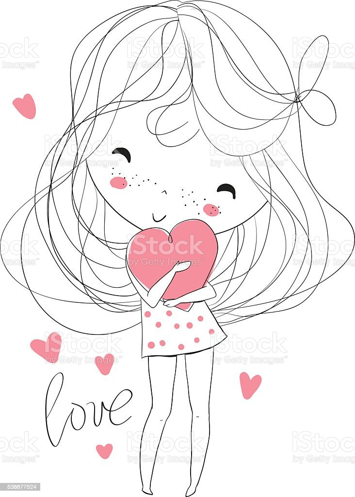 Beautiful girl with a heart. royalty-free stock vector art