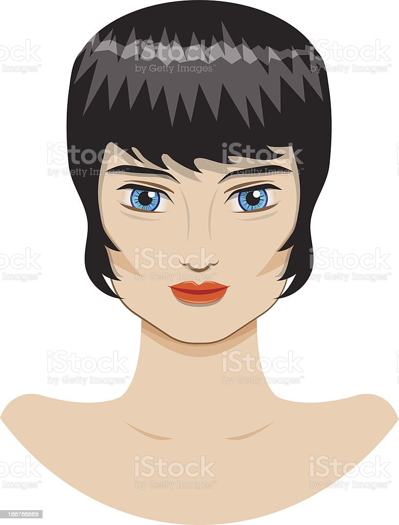 beautiful girl with a short haircut royalty-free stock vector art