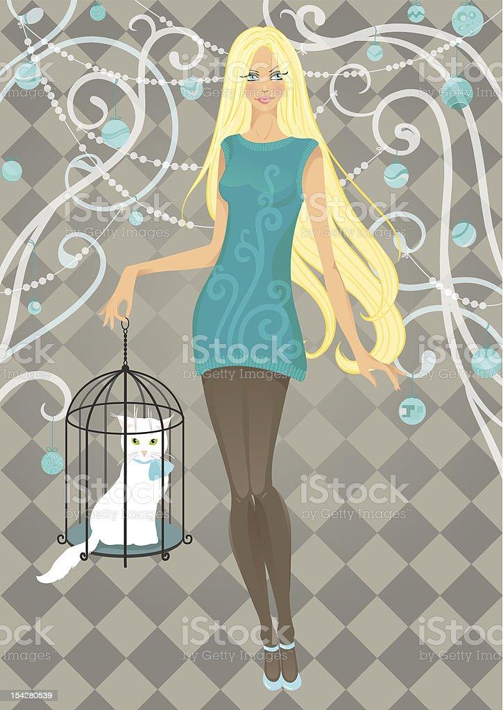 Красивая девушка с кошка в клетку векторная иллюстрация