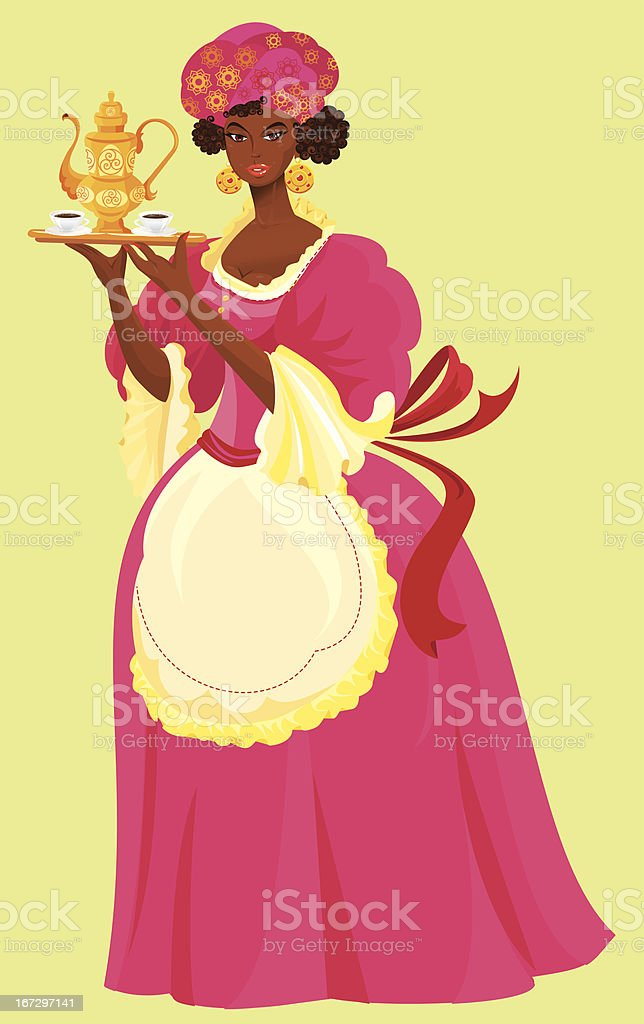 Beautiful mulatto girl with coffee cup and pot royalty-free stock vector art