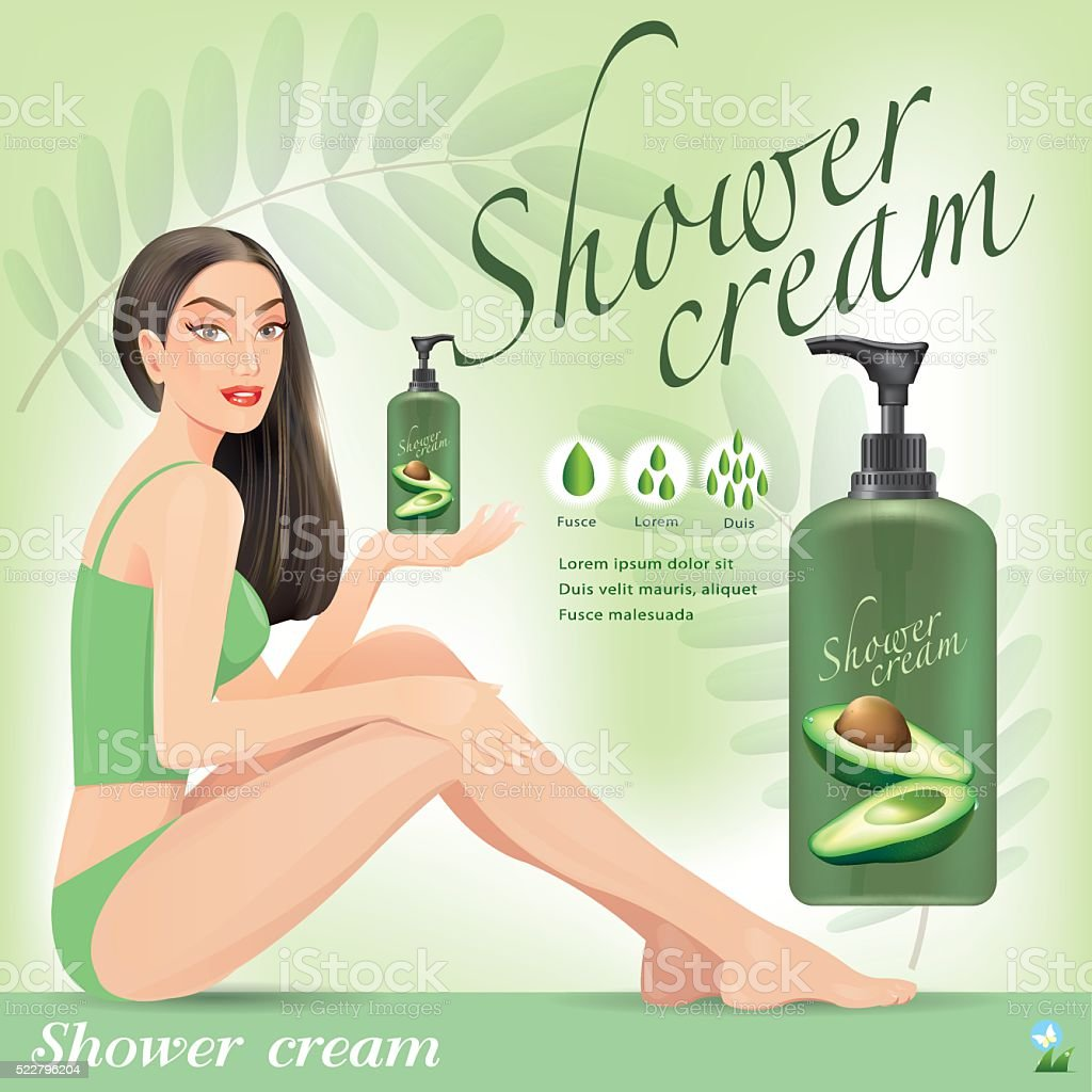 Beautiful girl with cream from avocado.vector vector art illustration