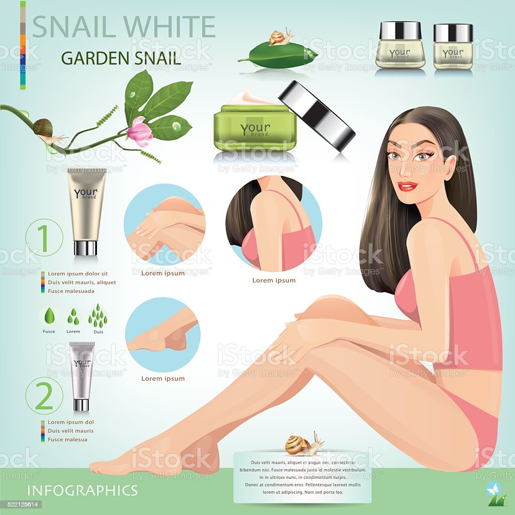 Beautiful girl with cream from snails. vector art illustration