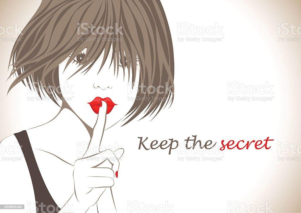 Beautiful girl with finger on her lips vector art illustration
