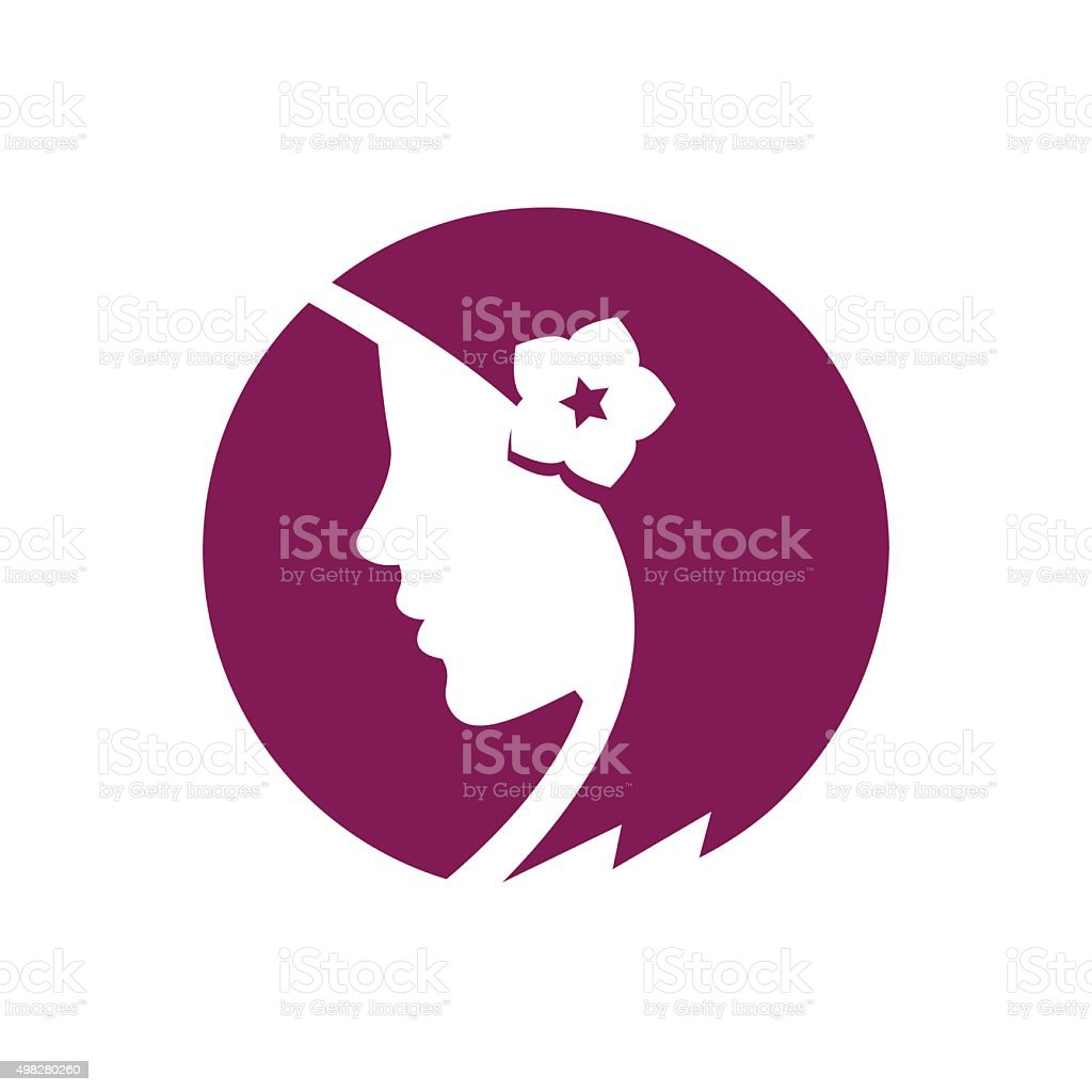 Beautiful girl with flower in the hair vector art illustration