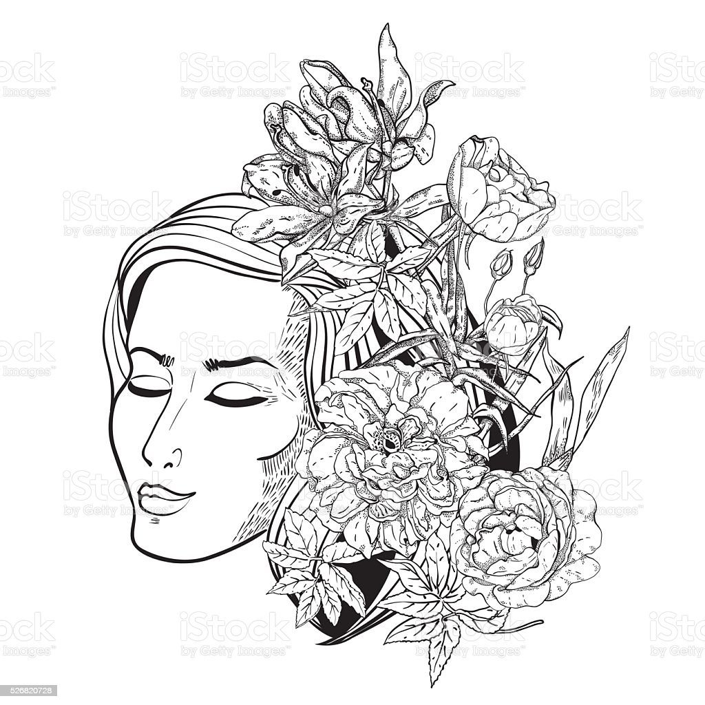 beautiful with flowers in her hair monochrome line art stock